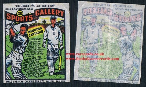 1958 Bellboy Len Hutton Peter May cricket Sports Gallery gum insert